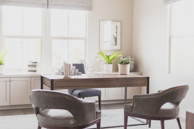 9 Helpful Hints for Working from Home an office with a desk and two chairs