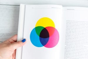 How to Use Color on Your Website a hand holding a book with writing and a color wheel