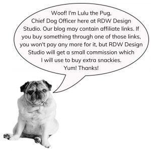 Affiliate Disclaimer Lulu the pug with a bubble quote