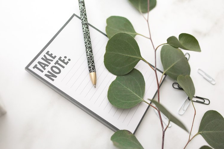 Simple Explanation of Common Website Terminology notepad and pen with green leaves and paperclips