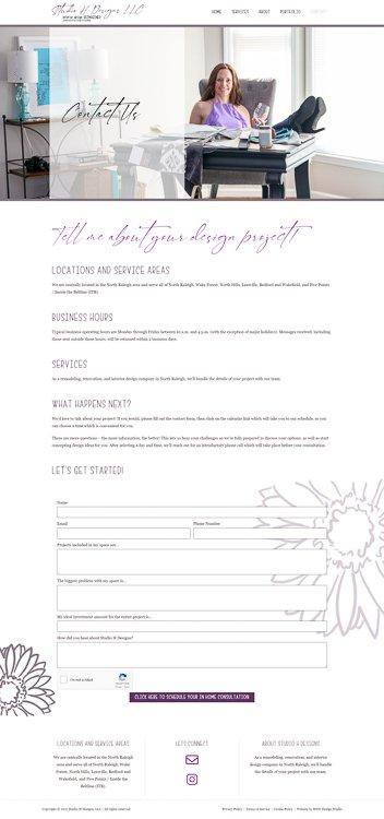 Studio H Designs Contact Page